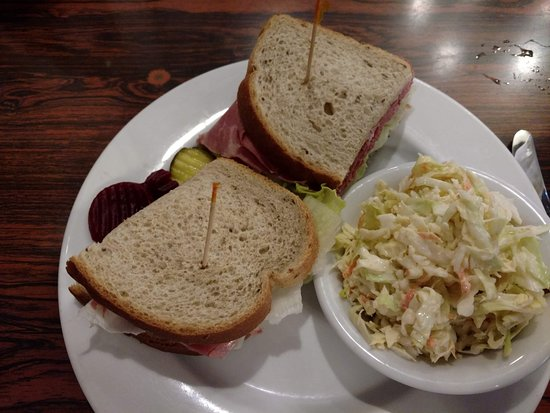 Solvang Restaurant: Corned Beef Sandwich on Rye Bread with Cole Slaw