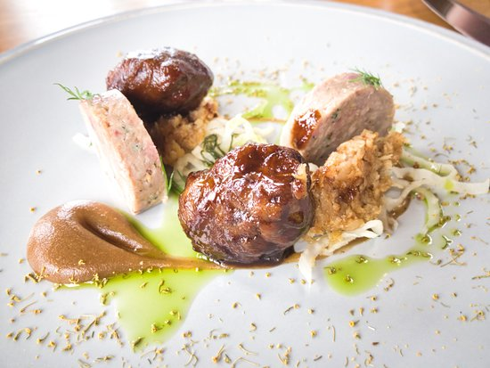 The Woodspeen: Pork Ballotine, Glazed Cheek, Burnt Apple, Celeriac and Mustard