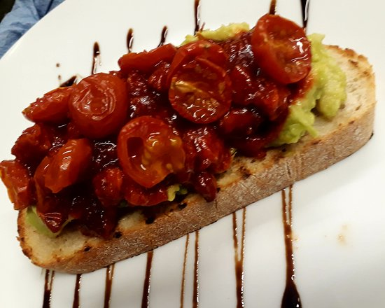 Buttercup Cafe: Smashed Avocado with Chorizo Chilli Jam and Cherry Tomatoes