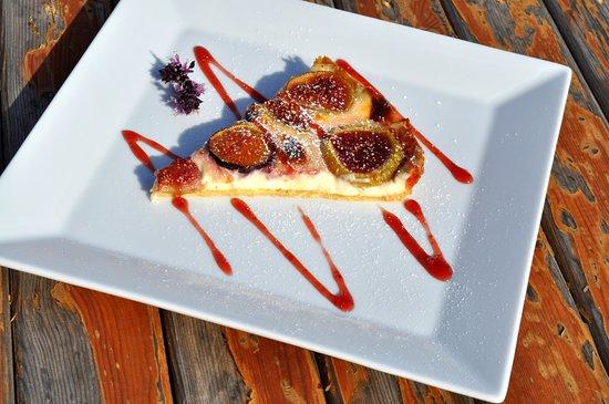 "Esperia Restaurant: ""Homemade Fig Tart with Strawberry Sauce...""  #esperiarestaurant"