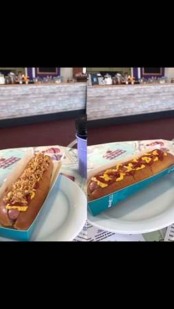 West Sussex, UK: Hot Dog - with or without crispy fried onions?