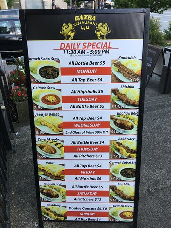 Sign Outside Of Restaurant Daily Specials Picture Of