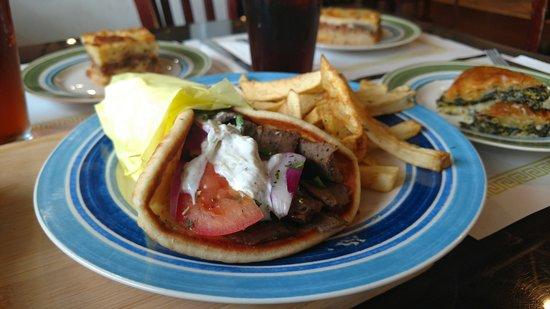 Zorbas Greek Restaurant & Buffet: Gyro sandwich with fires, spanakopita, pastitsio, coke
