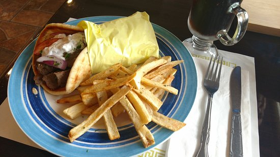 Zorbas Greek Restaurant & Buffet: Gyro sandwich with fires and a coke