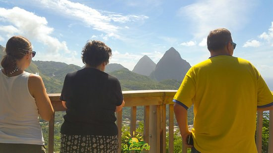 Soufrière, St. Lucia: Our guests taking in the pristine view of the Pitons and town of Soufriere during their private