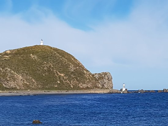Pencarrow Coastal Trail: the view of the old and new lighthouse