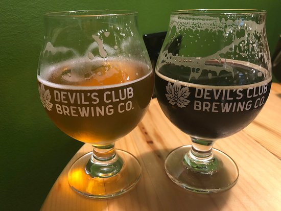 Devil's Club Brewing Company: left is Couch Beach (Belgium blonde ale) and Downrigger (Imperial Stout)