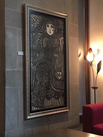 Auberge Saint-Pierre: Art, in the reception area.