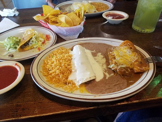 Bixby, OK: Sampler Dinner, with burrito, cheese enchilada, tamales, taco, rice and beans.