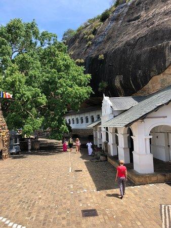 Ναός του Σπηλαίου Νταμπούλα: General view of the yard and the holly banian