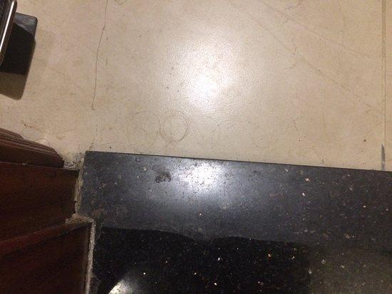 Sunline Hotel: hair on the bathroom floor as