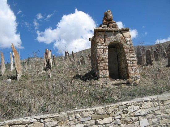 Chechnya, Russland: Древнее кладбище неподалеку от селения Хой возле озера Кезеной Ам