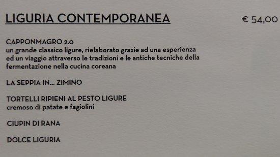Il Marin Ristoro del Porto Antico: Le menu