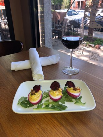 Bread N Butter: deviled eggs with crispy pork belly and beet chip
