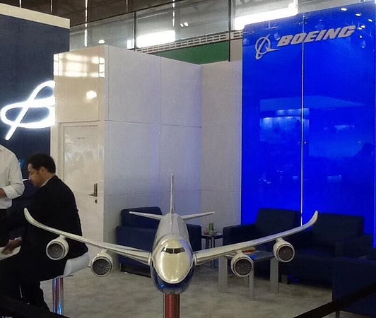 Shanghai New International Expo Centre (SNIEC): SIAL 2018: BOEING Cargo Pavilion at the SNIEC.