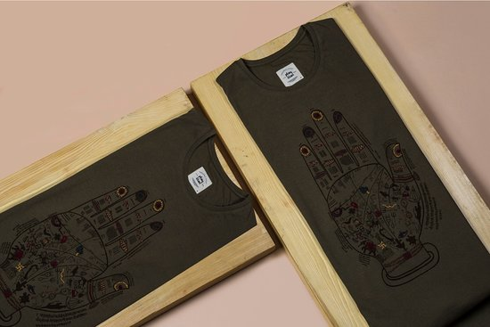 Play Clan: Handcrafted tees based on ancient painting on blueprint of a hand.