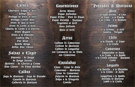 Menu - Picture of Rumba Deluxe Bar & Lounge Santo Domingo, Santo