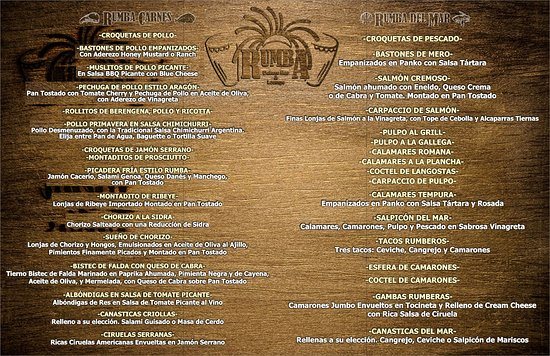 Tapa Menu 2 - Picture of Rumba Deluxe Bar & Lounge Santo