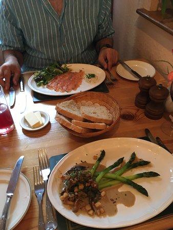 Stuckton, UK: Gravalax and asparagus and wild mushrooms