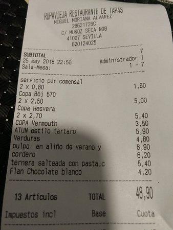 Ropavieja Restaurante de Tapas: La relación calidad / precio ajustada