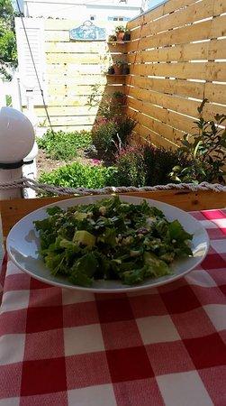 I Love Souvlaki : Summer love salad is made of  Lettuce,melon cubes,greek crushed feta cheese,raisins&ceasars dres