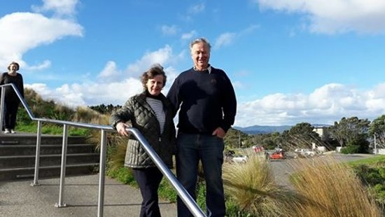 Xplor Tours: Kathy and Martin (Havelock North) at Mt Victoria Lookout, Wellington