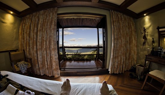 Predator Safari -4 Days: Fantastic view from my bed over Ngorongoro Crater