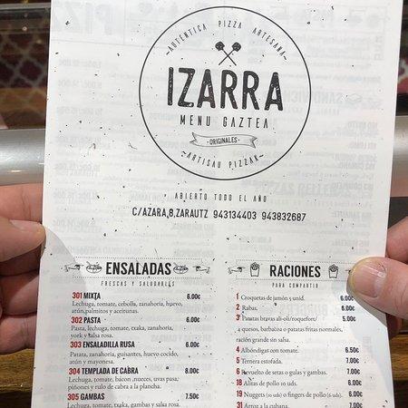 Pizzeria Izarra Menu Gaztea Image