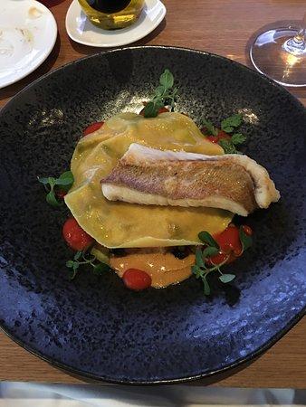 Portfolio restaurant: Red fish fillet on ratatouille-filled ravioli