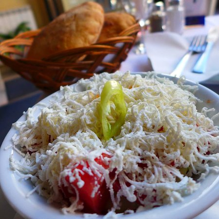 Tomato salad with cheese!