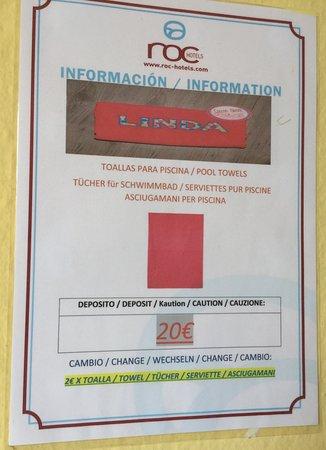 Hotel Roc Linda : Pool towel deposit