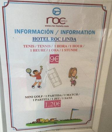 Hotel Roc Linda: Tennis and mini golf prices