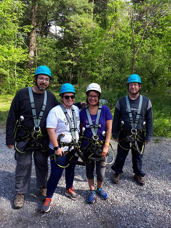 Mallorytown, Kanada: Geared up and ready to start the adventure course