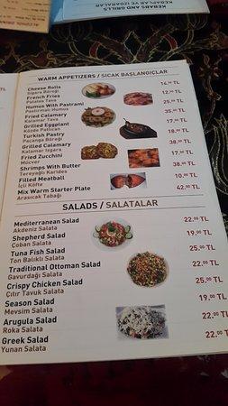 Old Ottoman Cafe & Restaurant: Меню ресторана
