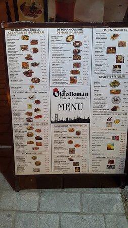 Old Ottoman Cafe & Restaurant: Меню