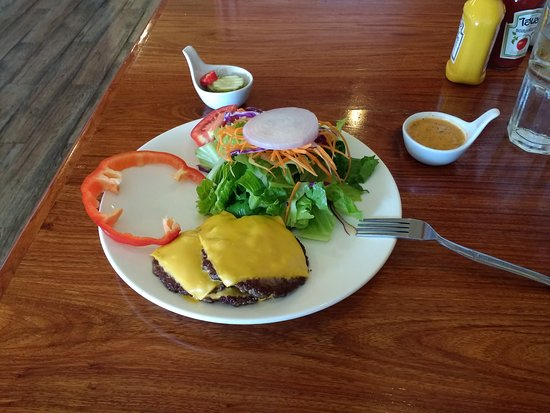 The Duke's Ping River: Milwaukee butter triple burger low carb style with small green salad.