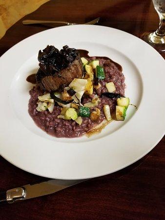 Fotis Restaurant: Grilled Tenderloin on black truffle risotto, w/vegetables, Cipollini onions, red wine butter sau