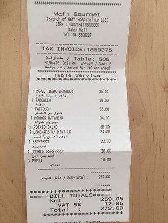 Wafi Gourmet: Rechnung und Preise