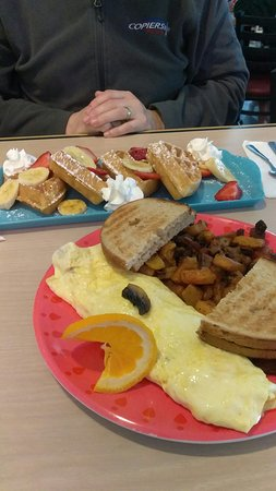 Surf City, NJ: Waffle with strawberries and bananas. And mushroom cheese omelette. Everything was delicious!