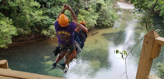 Cave Tubing and Zipline from Belize City: Julio Saving my Sis...She used her break to soon...lol...thanks Julio.