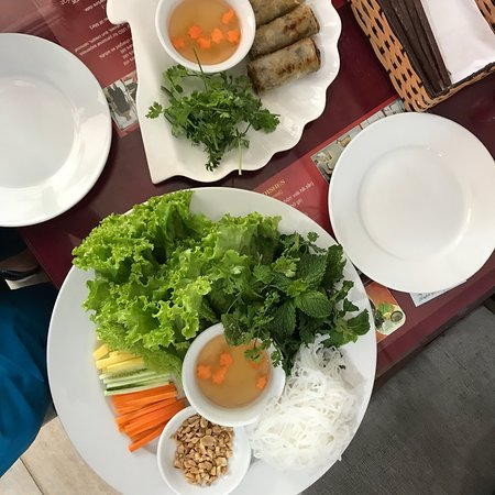 Spring rolls and grilled fish