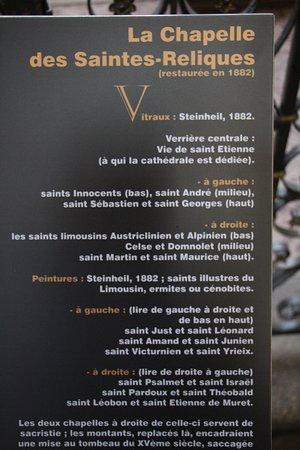 Cathedrale St-Etienne: une plaque explicative d'une des chapelles