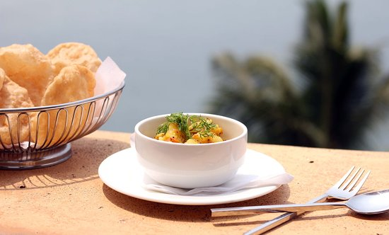 """The Tavern"" at the Fort Tiracol Heritage Hotel: Puri Bhaji at the tavern at Fort TIracol"