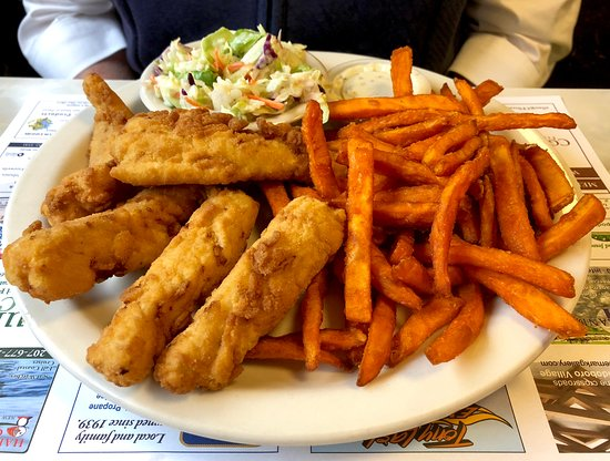 Waldoboro, ME: Haddock dinner with sweet potato fries