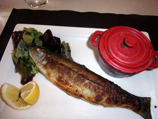 Le Rozier, France: la truite du Rozier Aligot salade