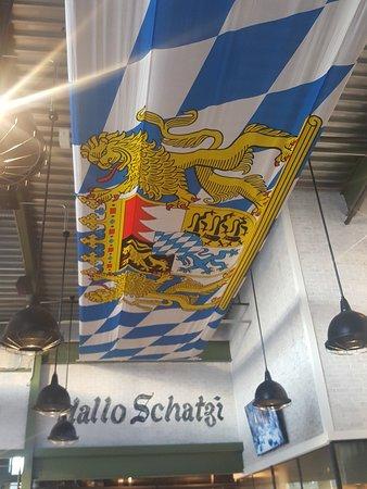 Biergarten on Lamar: The ceiling flag, Bavarian.