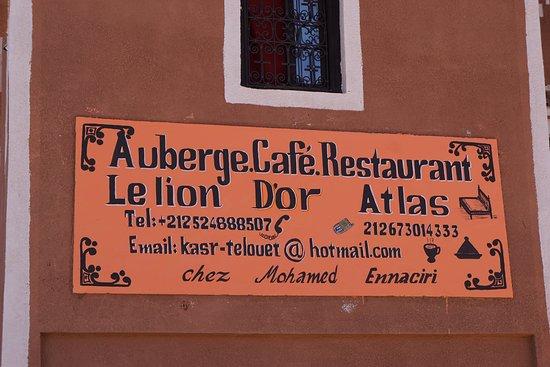Telouet, Morocco: Le Lion D'Or sign