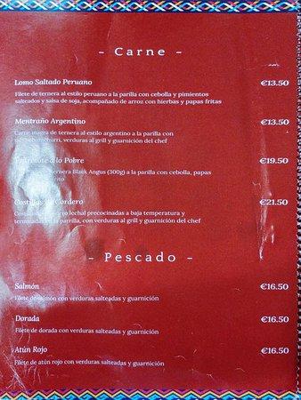 Andino Gastrobar: Carta de carne y pescado