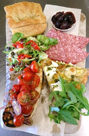 Buttercup Cafe: Foccacia, Bruschetta, Frittata Platter with Salami & Olives