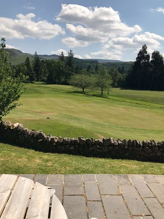 Eskdale Golf Course: 18th green and in distance the tee